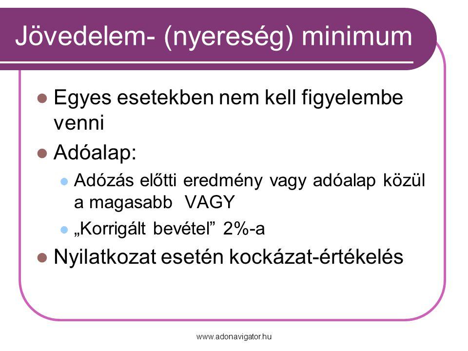 """www.adonavigator.hu Jövedelem- (nyereség) minimum Egyes esetekben nem kell figyelembe venni Adóalap: Adózás előtti eredmény vagy adóalap közül a magasabb VAGY """"Korrigált bevétel 2%-a Nyilatkozat esetén kockázat-értékelés"""