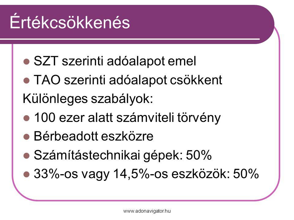 www.adonavigator.hu Értékcsökkenés SZT szerinti adóalapot emel TAO szerinti adóalapot csökkent Különleges szabályok: 100 ezer alatt számviteli törvény Bérbeadott eszközre Számítástechnikai gépek: 50% 33%-os vagy 14,5%-os eszközök: 50%