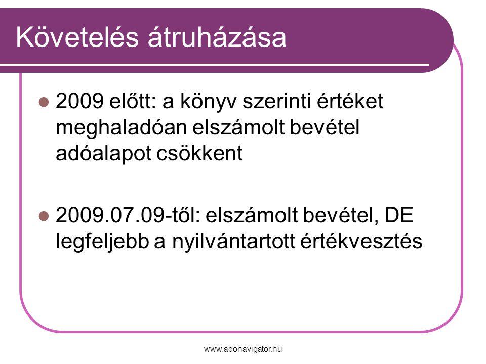 www.adonavigator.hu Követelés átruházása 2009 előtt: a könyv szerinti értéket meghaladóan elszámolt bevétel adóalapot csökkent 2009.07.09-től: elszámolt bevétel, DE legfeljebb a nyilvántartott értékvesztés
