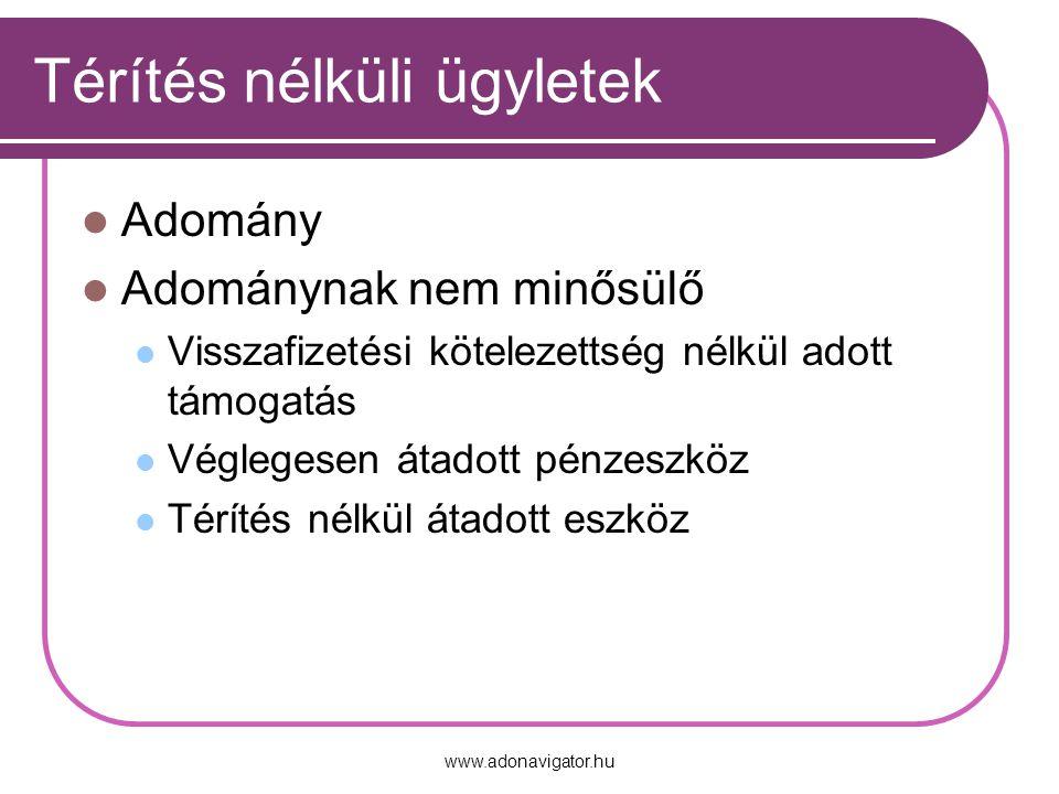 www.adonavigator.hu Térítés nélküli ügyletek Adomány Adománynak nem minősülő Visszafizetési kötelezettség nélkül adott támogatás Véglegesen átadott pénzeszköz Térítés nélkül átadott eszköz
