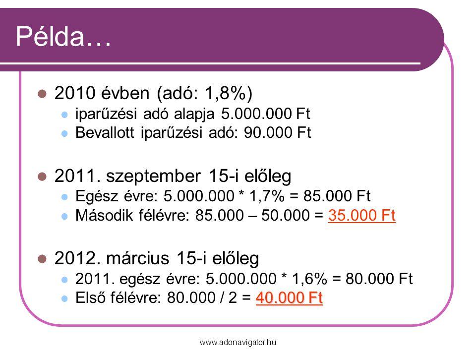 www.adonavigator.hu Példa… 2010 évben (adó: 1,8%) iparűzési adó alapja 5.000.000 Ft Bevallott iparűzési adó: 90.000 Ft 2011.