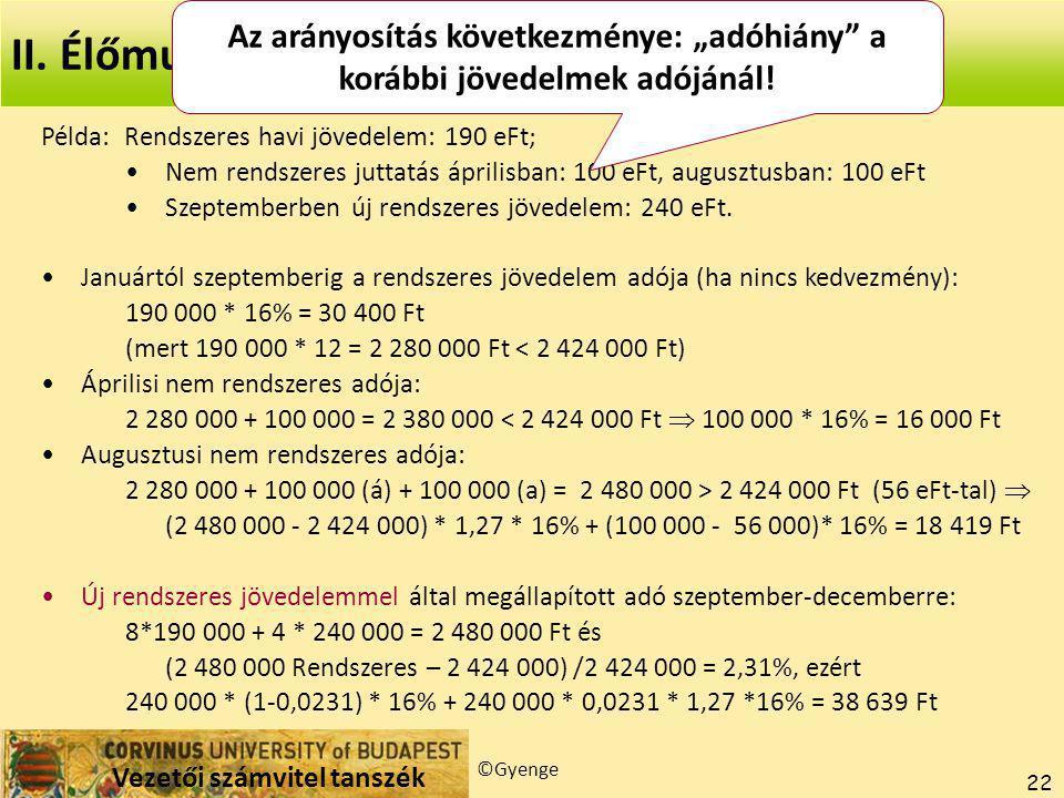 Vezetői számvitel tanszék ©Gyenge 22 Példa: Rendszeres havi jövedelem: 190 eFt; Nem rendszeres juttatás áprilisban: 100 eFt, augusztusban: 100 eFt Szeptemberben új rendszeres jövedelem: 240 eFt.