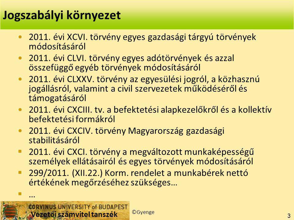 Vezetői számvitel tanszék ©Gyenge 3 2011.évi XCVI.