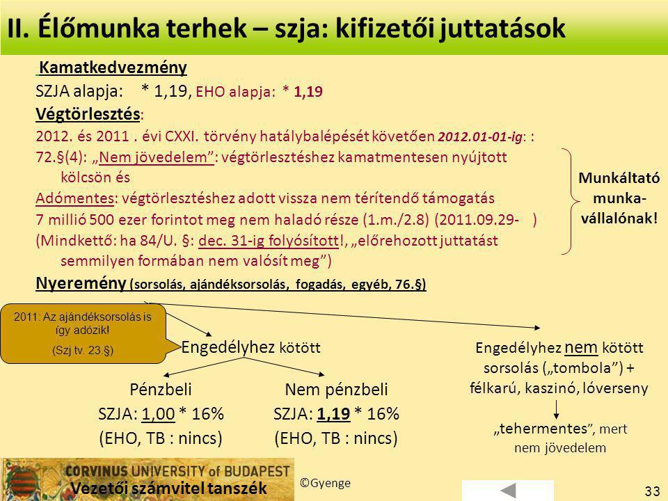 Vezetői számvitel tanszék ©Gyenge 33 Kamatkedvezmény SZJA alapja: * 1,19, EHO alapja: * 1,19 Végtörlesztés : 2012.