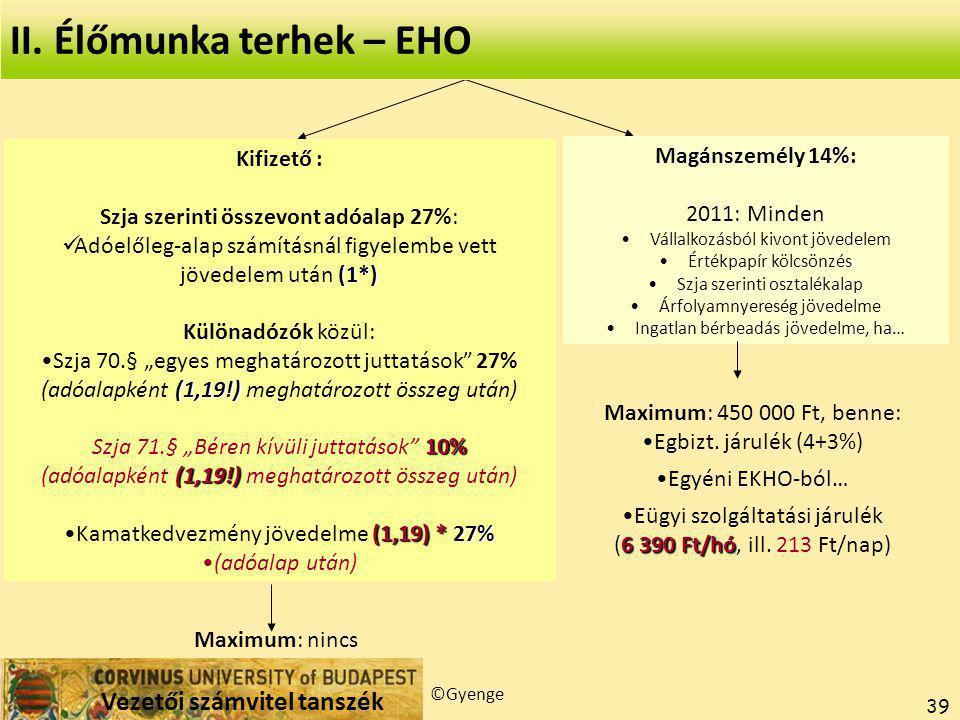 """Vezetői számvitel tanszék ©Gyenge 39 Kifizető : Szja szerinti összevont adóalap 27%: (1*) Adóelőleg-alap számításnál figyelembe vett jövedelem után (1*) Különadózók közül: Szja 70.§ """"egyes meghatározott juttatások 27% (1,19!) (adóalapként (1,19!) meghatározott összeg után) 10% Szja 71.§ """"Béren kívüli juttatások 10% (1,19!) (adóalapként (1,19!) meghatározott összeg után) (1,19) * 27%Kamatkedvezmény jövedelme (1,19) * 27% (adóalap után) Magánszemély 14%: 2011: Minden Vállalkozásból kivont jövedelem Értékpapír kölcsönzés Szja szerinti osztalékalap Árfolyamnyereség jövedelme Ingatlan bérbeadás jövedelme, ha… Maximum: nincs Maximum: 450 000 Ft, benne: Egbizt."""