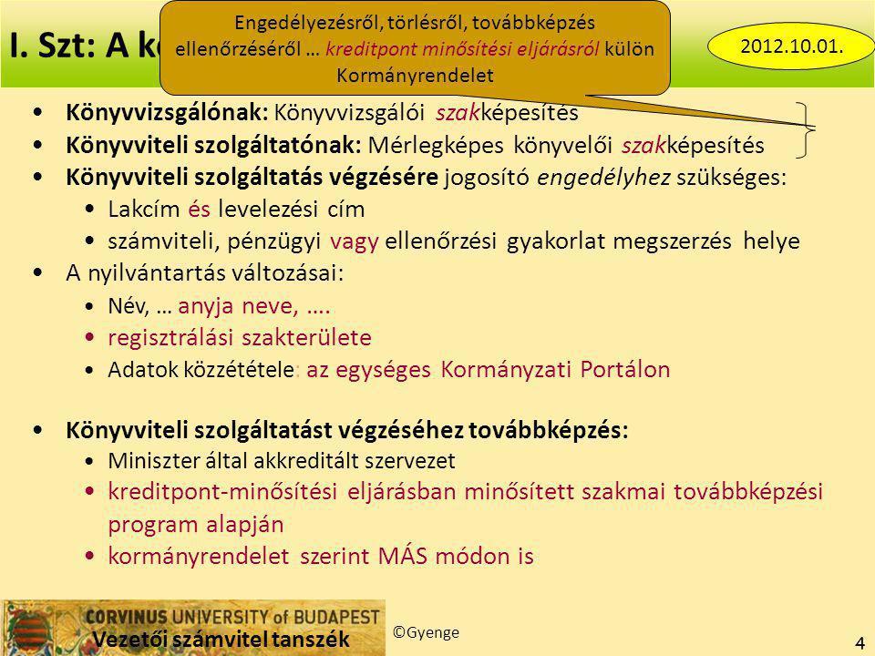 """Vezetői számvitel tanszék ©Gyenge 25 Ingó átruházás Mentesített jövedelem év elejétől: 200 eFt  32 eFt (EV nem) Mentesített bevétel év elejétől < 600 eFt (EV nem) Jövedelem minősítése (ingó és ingatlan is) Egyéni vállalkozói jövedelem Külön adózó jövedelem Önálló tevékenységből származó jövedelem  1,27 Ha: gazdasági tevékenység keretében: """"üzletszerű, illetőleg tartós vagy rendszeres jelleggel…ellenérték elérésére irányul, vagy azt eredményezi (3.§ 46.) Ha ingatlan gazdasági tevékenység keretében: nincs jövedelemcsökkentés az időmúlás miatt."""