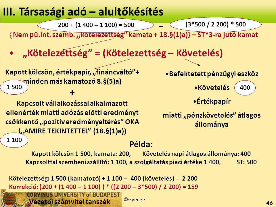 Vezetői számvitel tanszék ©Gyenge 46 III.Társasági adó – alultőkésítés  Nem pü.int.