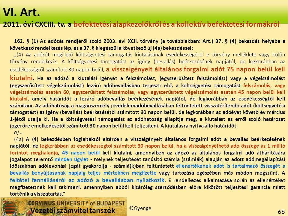 Vezetői számvitel tanszék ©Gyenge 65 VI.Art. 162.