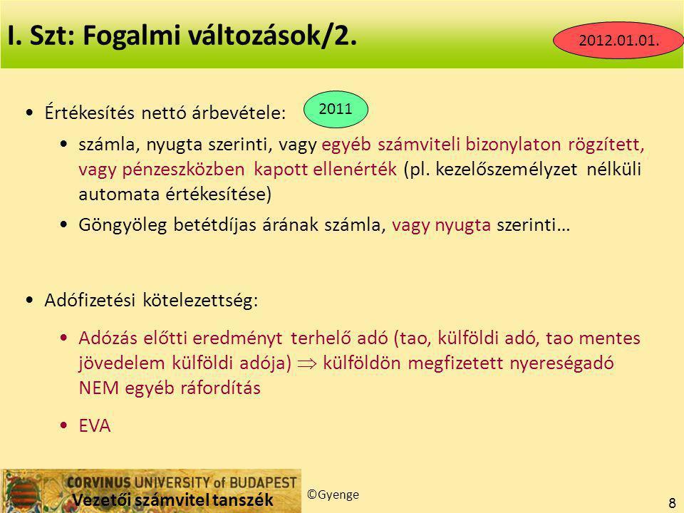 Vezetői számvitel tanszék ©Gyenge 8 I.Szt: Fogalmi változások/2.