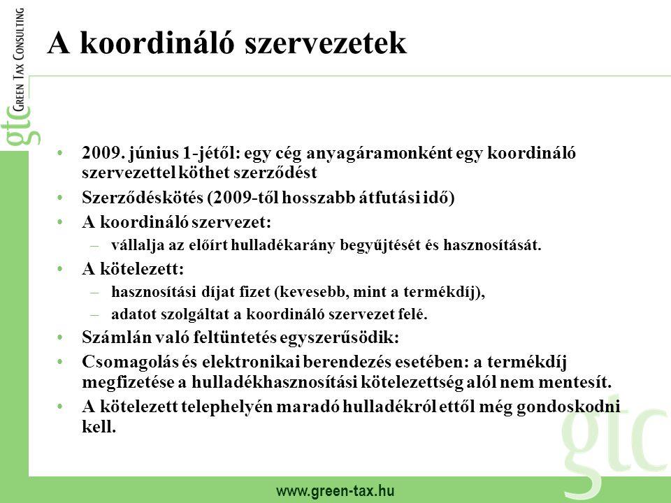www.green-tax.hu A koordináló szervezetek 2009. június 1-jétől: egy cég anyagáramonként egy koordináló szervezettel köthet szerződést Szerződéskötés (