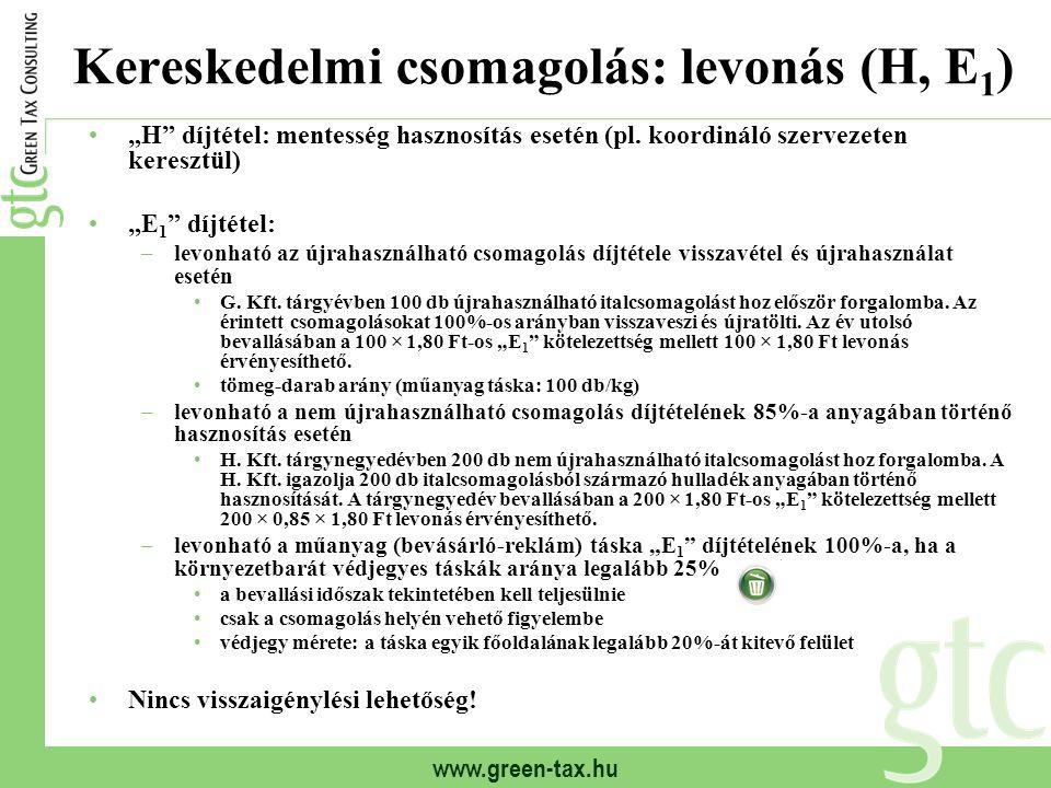 """www.green-tax.hu Kereskedelmi csomagolás: levonás (H, E 1 ) """"H"""" díjtétel: mentesség hasznosítás esetén (pl. koordináló szervezeten keresztül) """"E 1 """" d"""