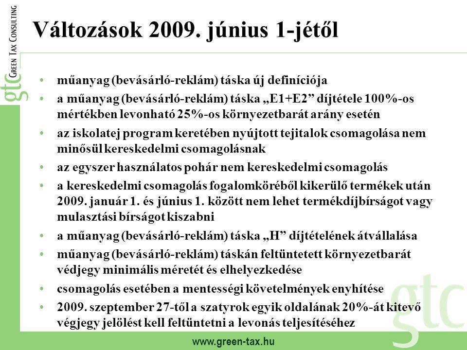 """www.green-tax.hu Változások 2009. június 1-jétől műanyag (bevásárló-reklám) táska új definíciója a műanyag (bevásárló-reklám) táska """"E1+E2"""" díjtétele"""