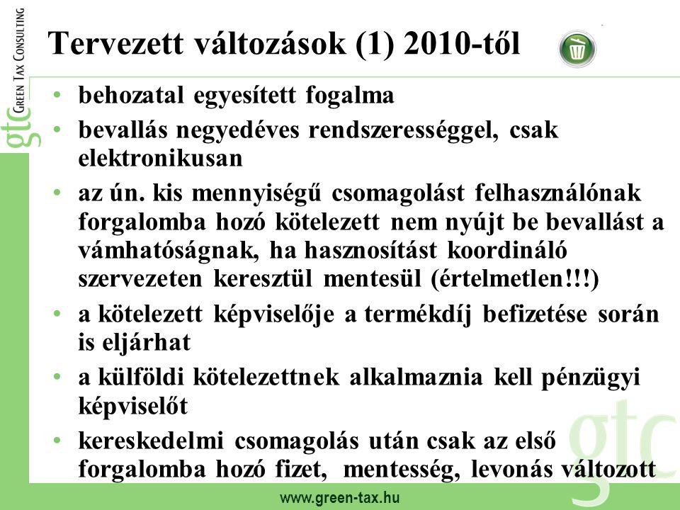 www.green-tax.hu Tervezett változások (1) 2010-től behozatal egyesített fogalma bevallás negyedéves rendszerességgel, csak elektronikusan az ún. kis m