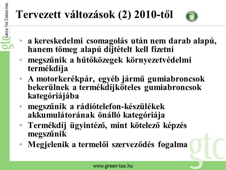 www.green-tax.hu Tervezett változások (2) 2010-től a kereskedelmi csomagolás után nem darab alapú, hanem tömeg alapú díjtételt kell fizetni megszűnik