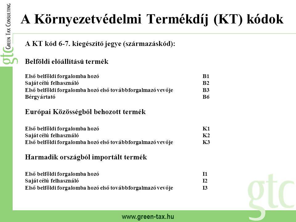 www.green-tax.hu A Környezetvédelmi Termékdíj (KT) kódok A KT kód 6-7. kiegészítő jegye (származáskód): Belföldi előállítású termék Első belföldi forg