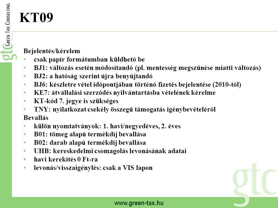 www.green-tax.hu KT09 Bejelentés/kérelem csak papír formátumban küldhető be BJ1: változás esetén módosítandó (pl. mentesség megszűnése miatti változás