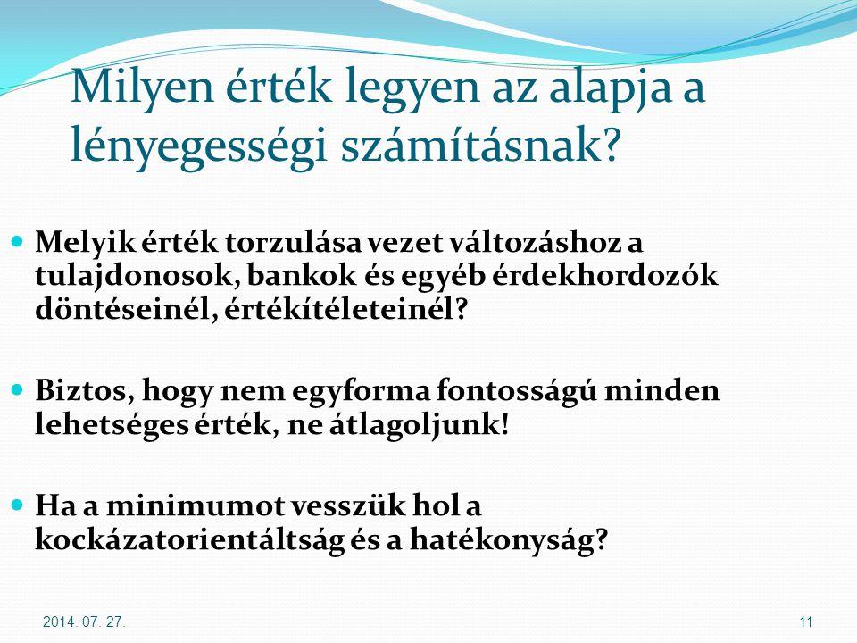 2014. 07. 27.11 Milyen érték legyen az alapja a lényegességi számításnak? Melyik érték torzulása vezet változáshoz a tulajdonosok, bankok és egyéb érd