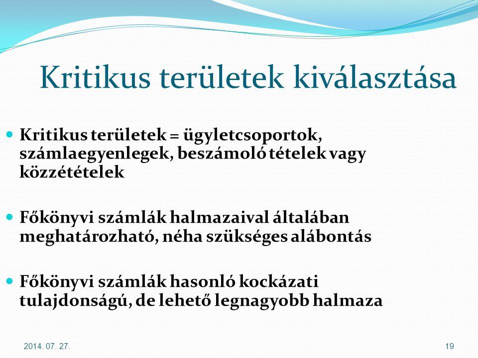 2014. 07. 27.19 Kritikus területek kiválasztása Kritikus területek = ügyletcsoportok, számlaegyenlegek, beszámoló tételek vagy közzétételek Főkönyvi s