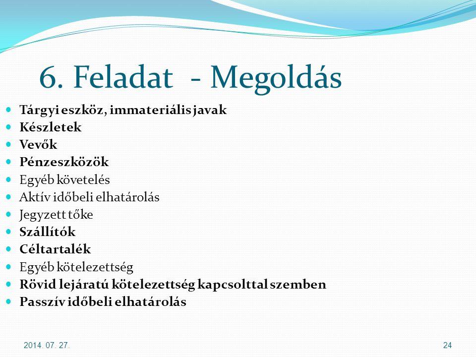 2014. 07. 27.24 6. Feladat - Megoldás Tárgyi eszköz, immateriális javak Készletek Vevők Pénzeszközök Egyéb követelés Aktív időbeli elhatárolás Jegyzet