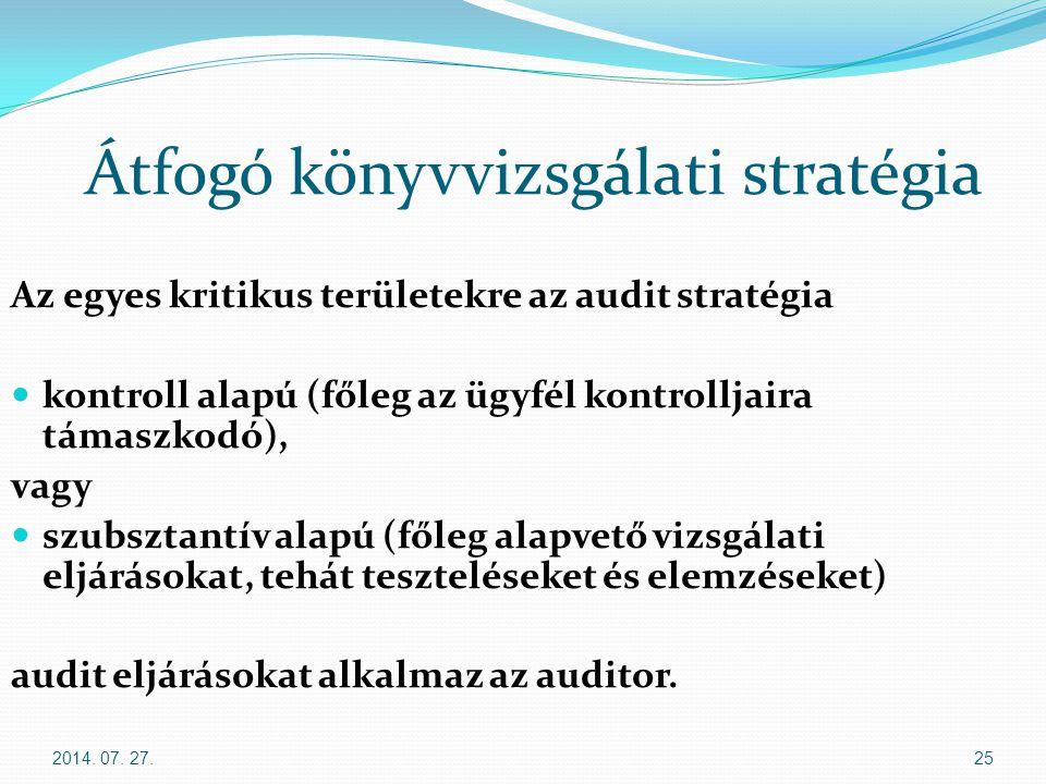 2014. 07. 27.25 Átfogó könyvvizsgálati stratégia Az egyes kritikus területekre az audit stratégia kontroll alapú (főleg az ügyfél kontrolljaira támasz