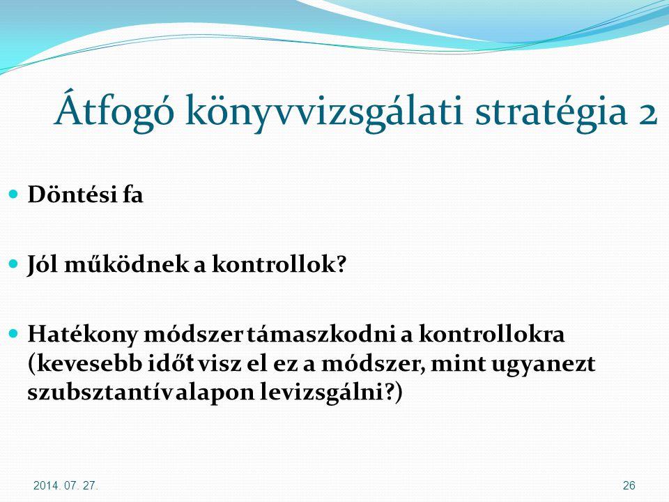 2014. 07. 27.26 Átfogó könyvvizsgálati stratégia 2 Döntési fa Jól működnek a kontrollok? Hatékony módszer támaszkodni a kontrollokra (kevesebb idő t v