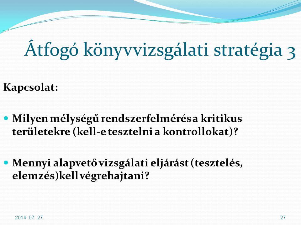 2014. 07. 27.27 Átfogó könyvvizsgálati stratégia 3 Kapcsolat: Milyen mélységű rendszerfelmérés a kritikus területekre (kell-e tesztelni a kontrollokat