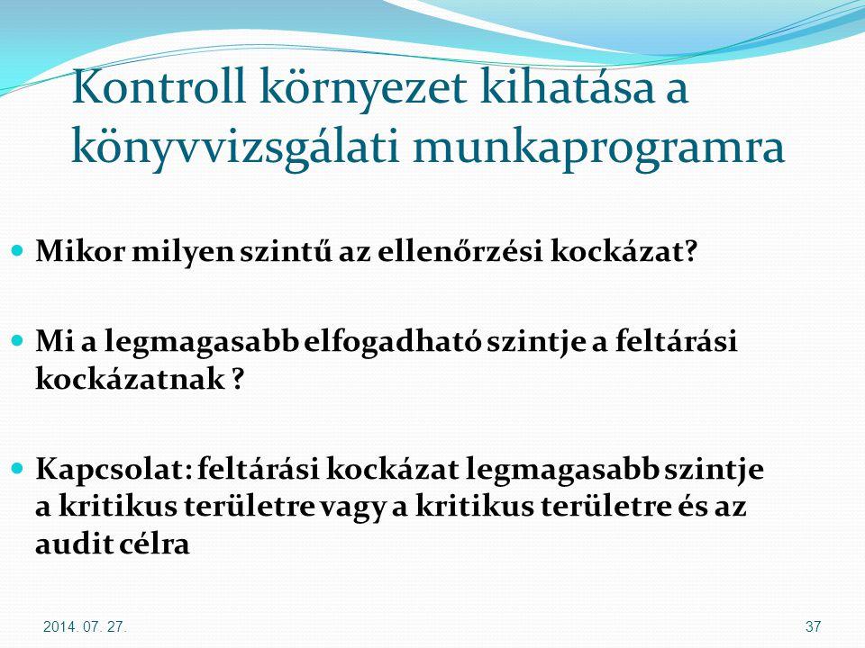 2014. 07. 27.37 Kontroll környezet kihatása a könyvvizsgálati munkaprogramra Mikor milyen szintű az ellenőrzési kockázat? Mi a legmagasabb elfogadható