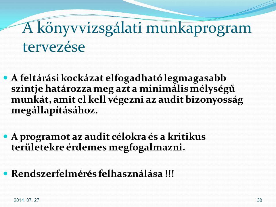 2014. 07. 27.38 A könyvvizsgálati munkaprogram tervezése A feltárási kockázat elfogadható legmagasabb szintje határozza meg azt a minimális mélységű m