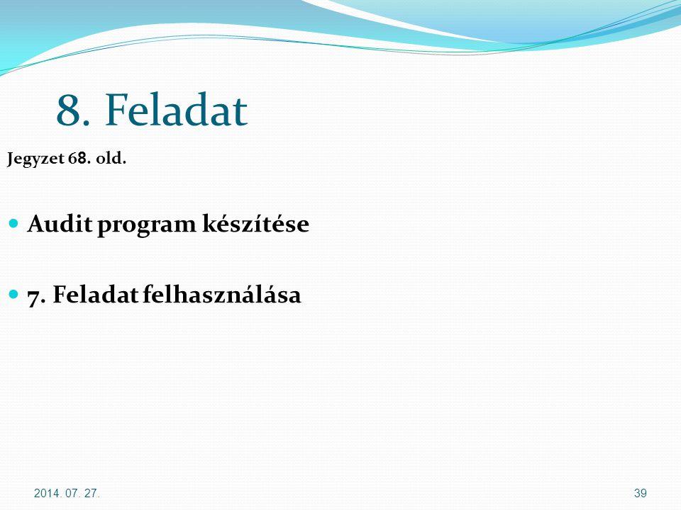 2014. 07. 27.39 8. Feladat Jegyzet 6 8. old. Audit program készítése 7. Feladat felhasználása