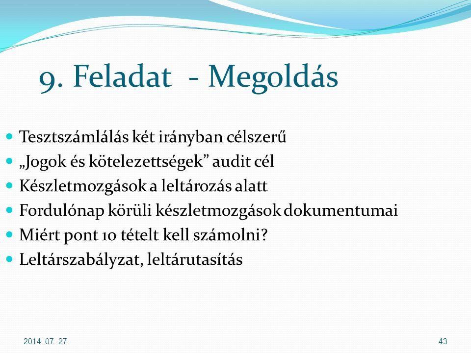 """2014. 07. 27.43 9. Feladat - Megoldás Tesztszámlálás két irányban célszerű """"Jogok és kötelezettségek"""" audit cél Készletmozgások a leltározás alatt For"""