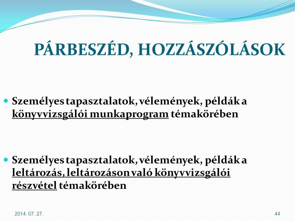 2014. 07. 27.44 PÁRBESZÉD, HOZZÁSZÓLÁSOK Személyes tapasztalatok, vélemények, példák a könyvvizsgálói munkaprogram témakörében Személyes tapasztalatok