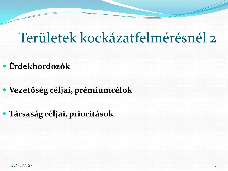 2014. 07. 27.5 Területek kockázatfelmérésnél 2 Érdekhordozók Vezetőség céljai, prémiumcélok Társaság céljai, prioritások