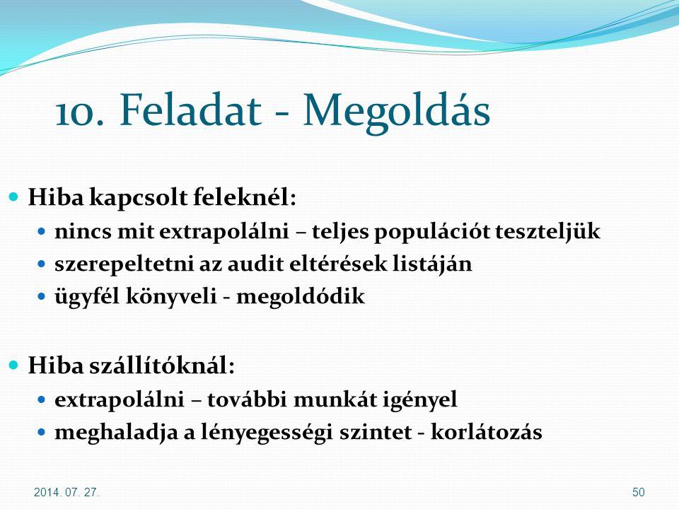 2014. 07. 27.50 10. Feladat - Megoldás Hiba kapcsolt feleknél: nincs mit extrapolálni – teljes populációt teszteljük szerepeltetni az audit eltérések