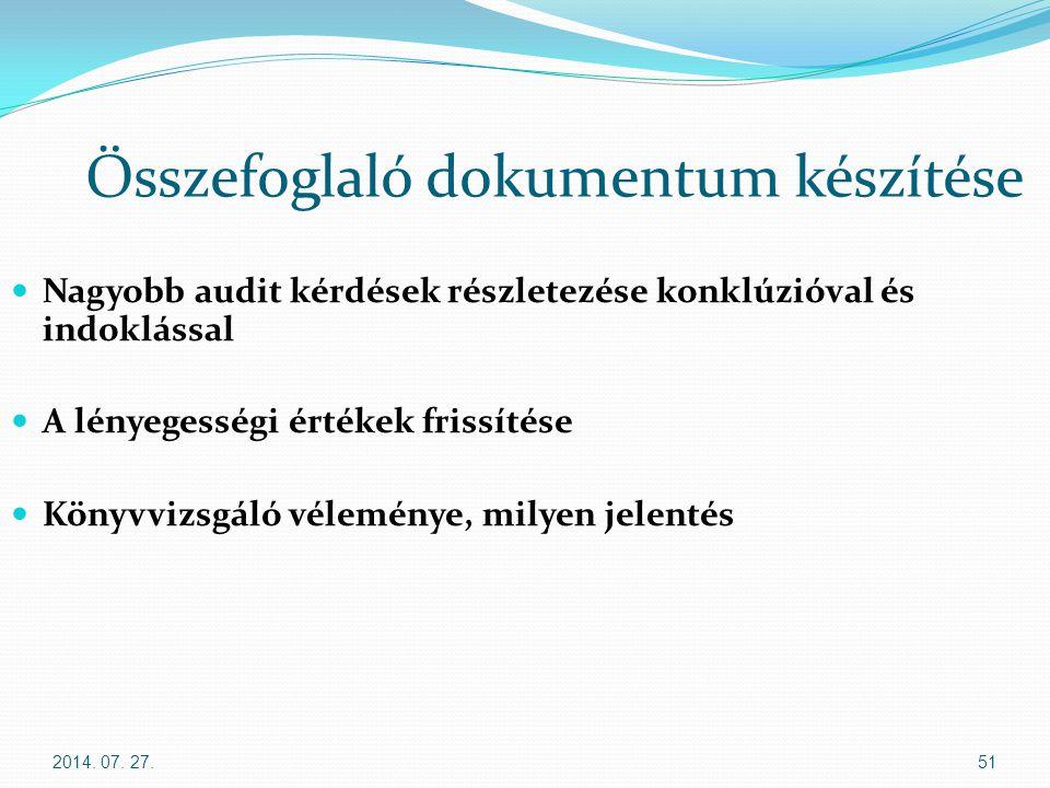 2014. 07. 27.51 Összefoglaló dokumentum készítése Nagyobb audit kérdések részletezése konklúzióval és indoklással A lényegességi értékek frissítése Kö