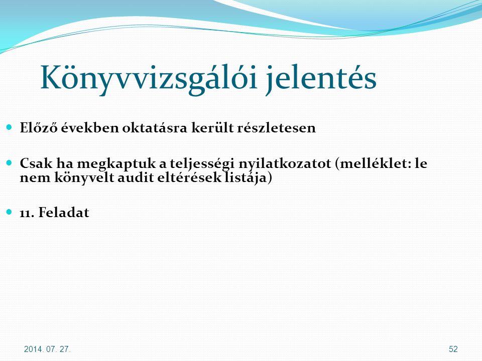 2014. 07. 27.52 Könyvvizsgálói jelentés Előző években oktatásra került részletesen Csak ha megkaptuk a teljességi nyilatkozatot (melléklet: le nem kön