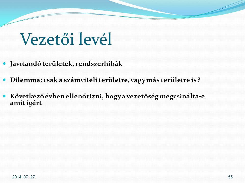 2014. 07. 27.55 Vezetői levél Javítandó területek, rendszerhibák Dilemma: csak a számviteli területre, vagy más területre is ? Következő évben ellenőr