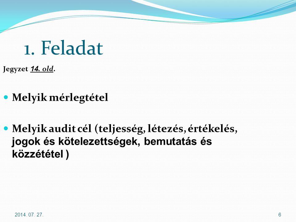 2014. 07. 27.6 1. Feladat Jegyzet 14. old. Melyik mérlegtétel Melyik audit cél (teljesség, létezés, értékelés, jogok és kötelezettségek, bemutatás és