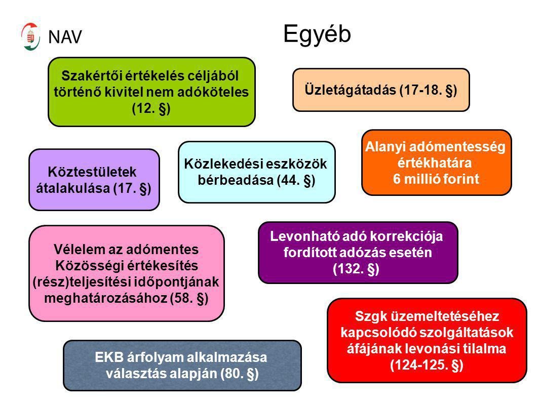 Egyéb Köztestületek átalakulása (17. §) Szakértői értékelés céljából történő kivitel nem adóköteles (12. §) Üzletágátadás (17-18. §) Vélelem az adómen