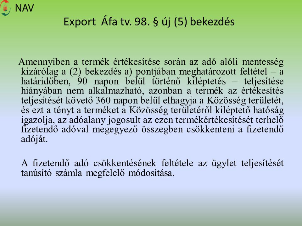 Export Áfa tv.98.