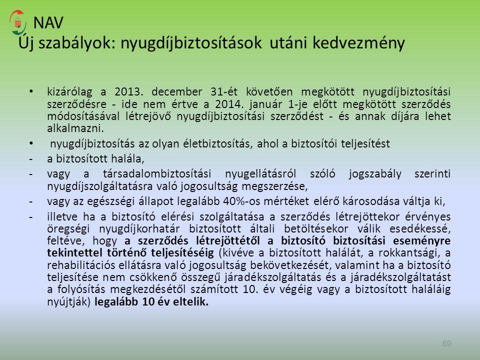 Új szabályok: nyugdíjbiztosítások utáni kedvezmény kizárólag a 2013. december 31-ét követően megkötött nyugdíjbiztosítási szerződésre - ide nem értve