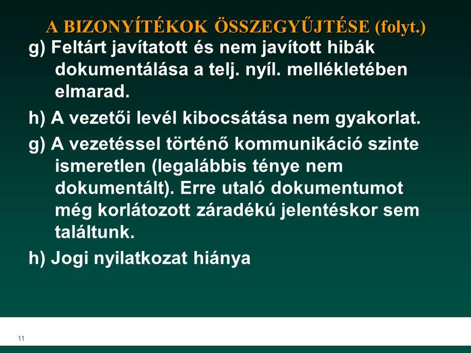 11 A BIZONYÍTÉKOK ÖSSZEGYŰJTÉSE (folyt.) g) Feltárt javítatott és nem javított hibák dokumentálása a telj. nyíl. mellékletében elmarad. h) A vezetői l