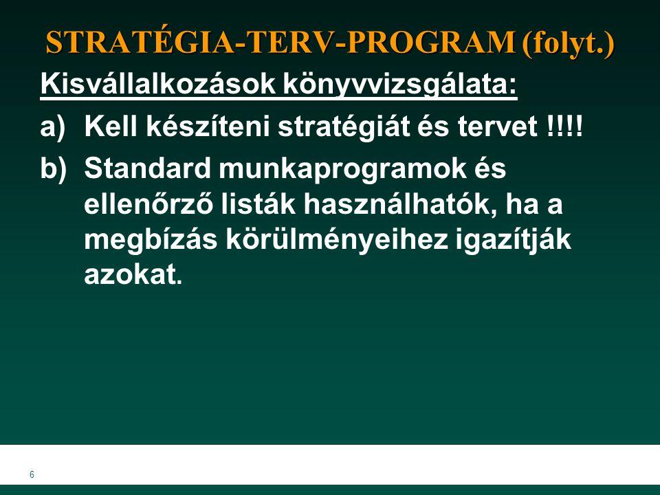 6 STRATÉGIA-TERV-PROGRAM (folyt.) Kisvállalkozások könyvvizsgálata: a)Kell készíteni stratégiát és tervet !!!! b)Standard munkaprogramok és ellenőrző