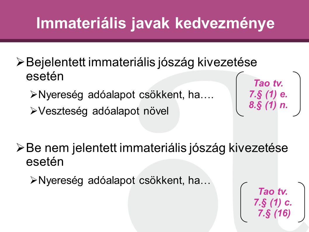Immateriális javak kedvezménye  Bejelentett immateriális jószág kivezetése esetén  Nyereség adóalapot csökkent, ha….