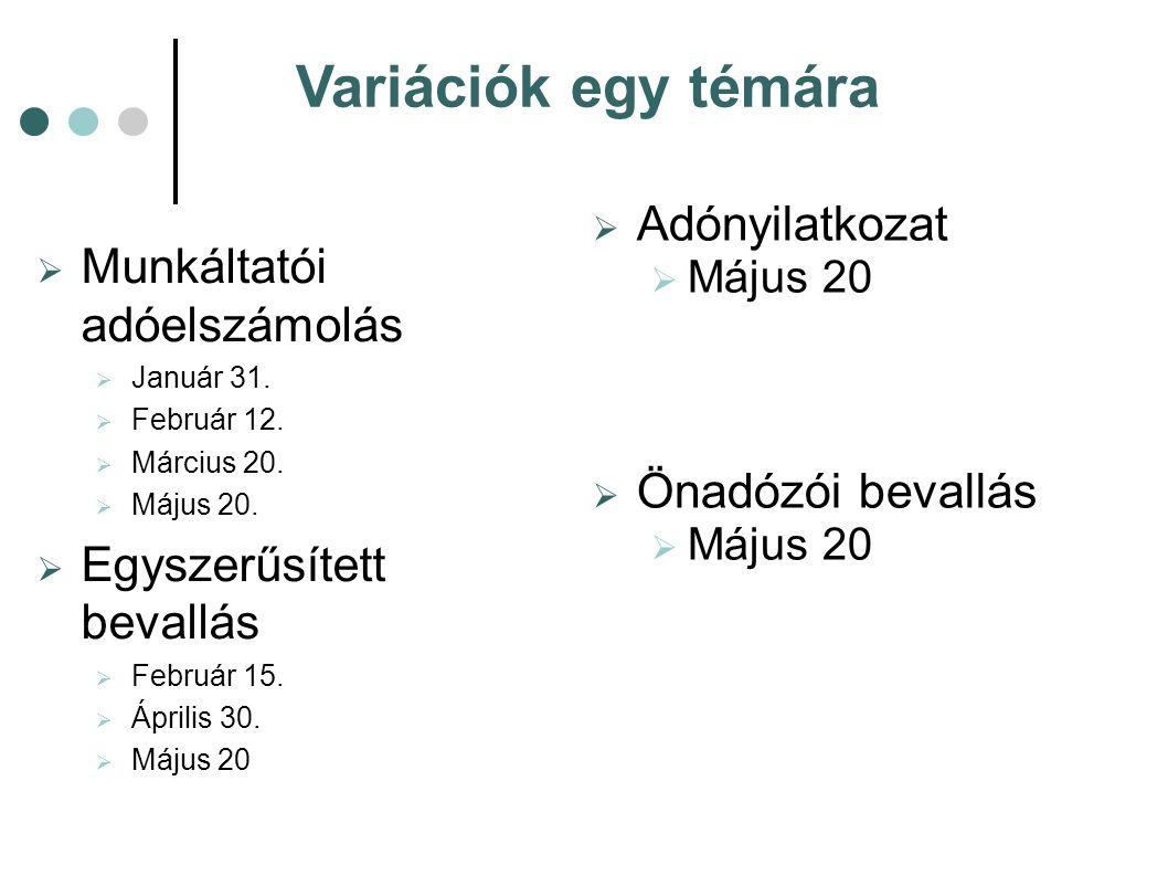 Variációk egy témára  Munkáltatói adóelszámolás  Január 31.  Február 12.  Március 20.  Május 20.  Egyszerűsített bevallás  Február 15.  Áprili