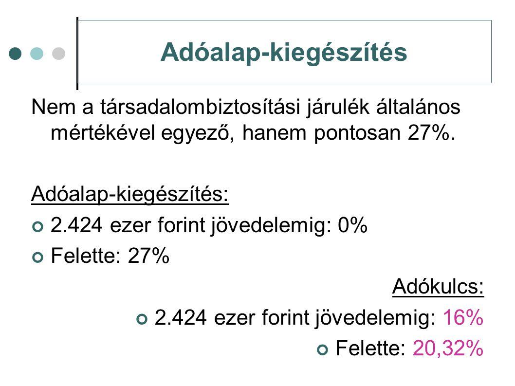 Adóalap-kiegészítés Nem a társadalombiztosítási járulék általános mértékével egyező, hanem pontosan 27%. Adóalap-kiegészítés: 2.424 ezer forint jövede