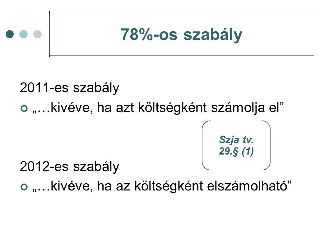 """78%-os szabály 2011-es szabály """"…kivéve, ha azt költségként számolja el"""" 2012-es szabály """"…kivéve, ha az költségként elszámolható"""" Szja tv. 29.§ (1)"""