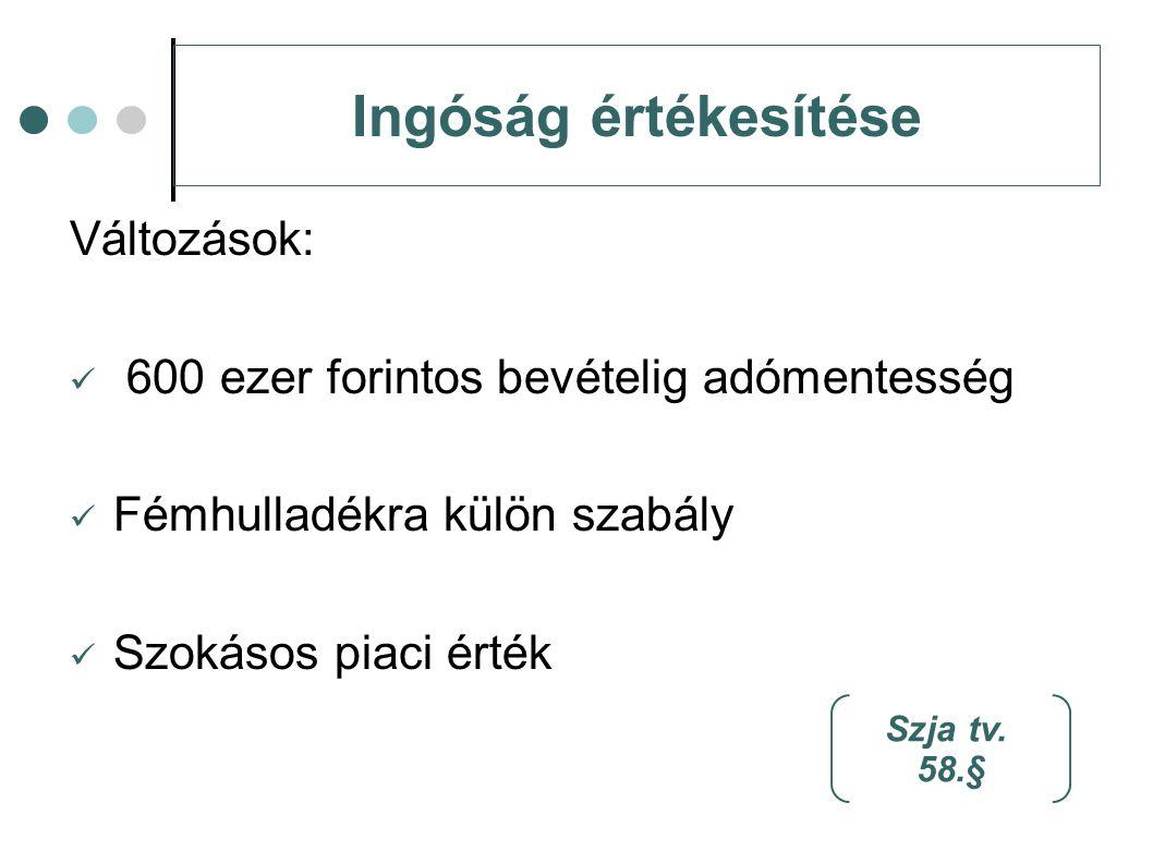 Ingóság értékesítése Változások: 600 ezer forintos bevételig adómentesség Fémhulladékra külön szabály Szokásos piaci érték Szja tv. 58.§
