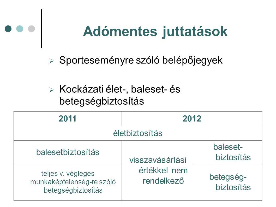  Sporteseményre szóló belépőjegyek  Kockázati élet-, baleset- és betegségbiztosítás Adómentes juttatások 20112012 életbiztosítás balesetbiztosítás v