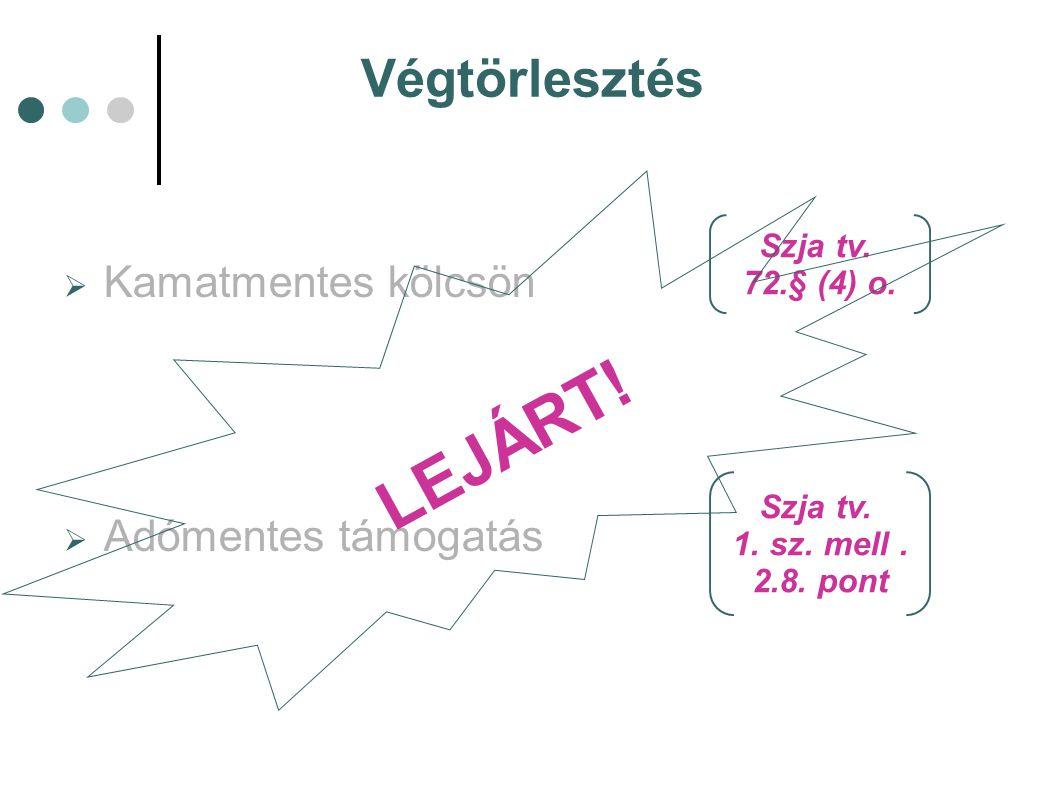 Végtörlesztés  Kamatmentes kölcsön  Adómentes támogatás Szja tv. 72.§ (4) o. Szja tv. 1. sz. mell. 2.8. pont LEJÁRT!