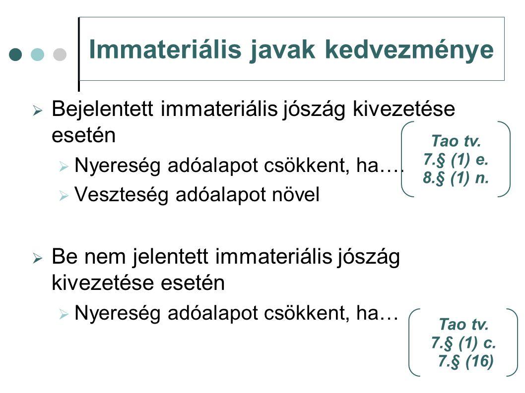 Immateriális javak kedvezménye  Bejelentett immateriális jószág kivezetése esetén  Nyereség adóalapot csökkent, ha….  Veszteség adóalapot növel  B